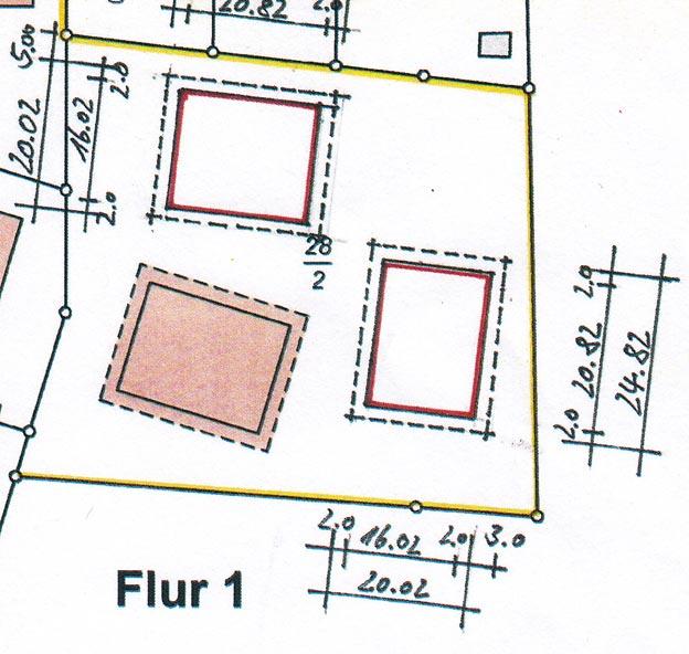 Offizieller Lageplan der N-Häuser © Amt für Bodenmanagement Homberg (Efze)