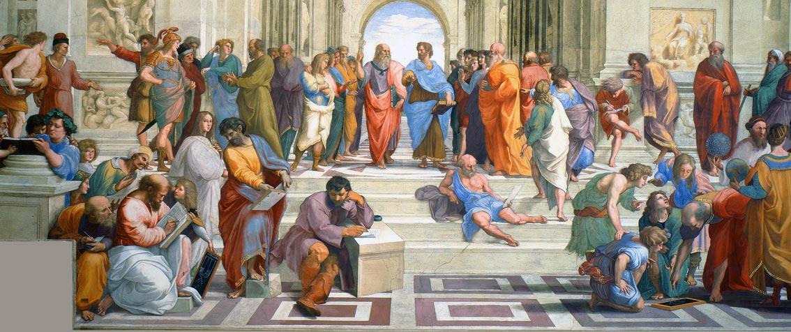 Die (Philosophen-)Schule von Athen. Raffael, 1511 - Auch Pythagoras ist darunter. Schon erkannt?Abb.: gemeinfrei
