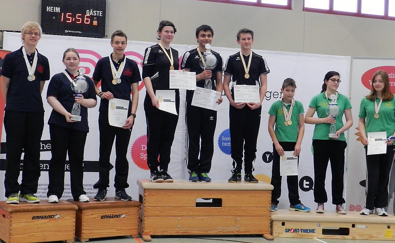Die Medaillengewinner (v. l.): Oberurff – Gochsheim – Aachen. Foto: privat