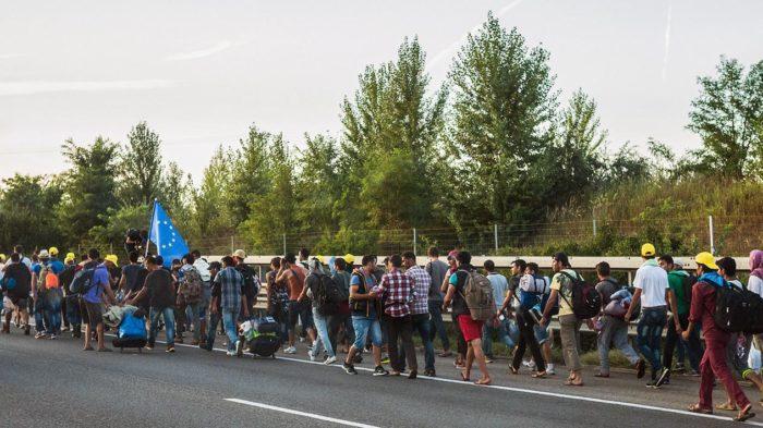 Symbolbild: Menschenmassen, vornämlich männlich, auf dem Weg durch Österreich. Foto: Joachim Seidler