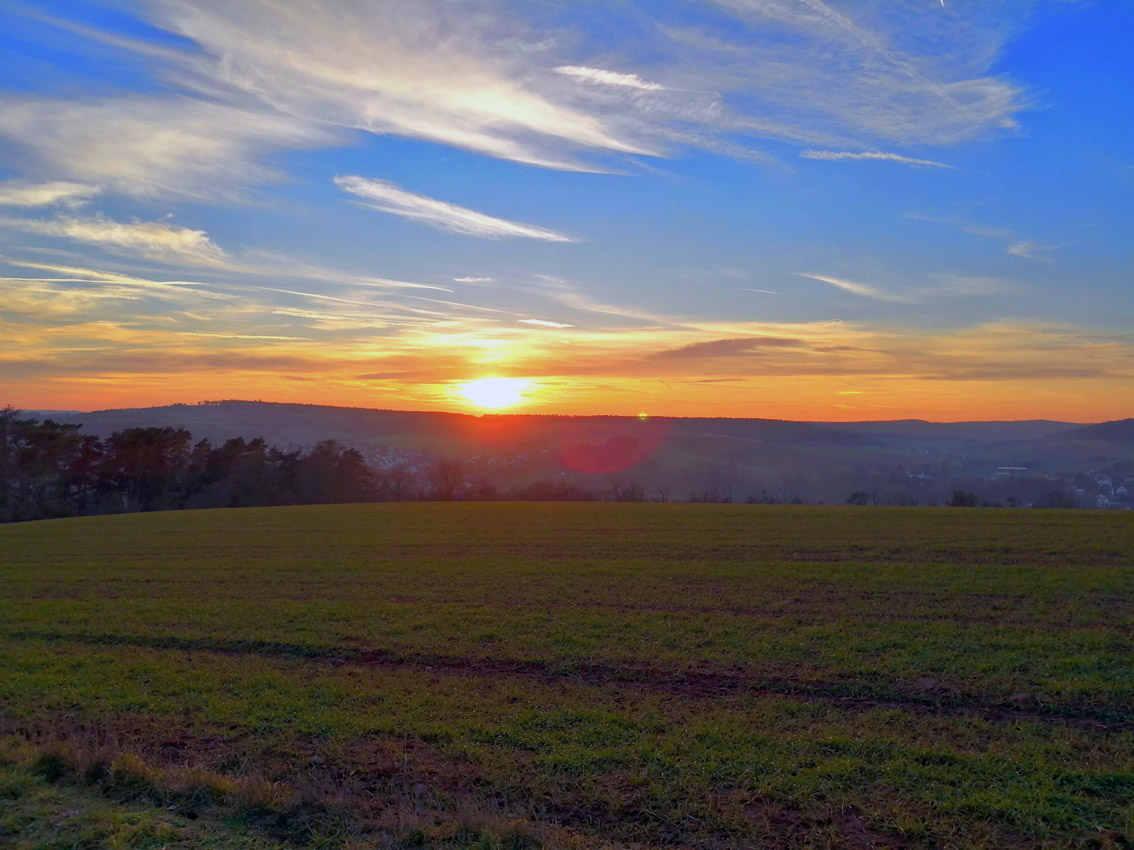 Sonnenuntergang über Gemünden   Foto: Dennis Ruhwedel/CJD Oberurff