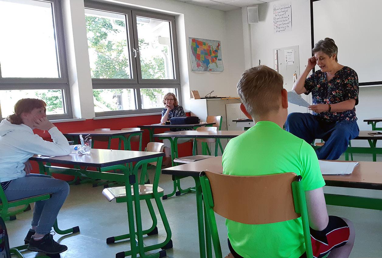 Autorenworkshop mit Autorin Jutta Wilke. Foto: L. M. Meckbach/CJD Oberurff